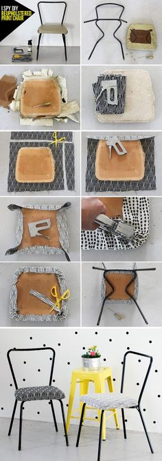 Step by Step DIY Reupholster Chairs How-To Furniture Projects, Furniture Makeover, Diy Furniture, Chaise Diy, I Spy Diy, Diy Upcycling, Repurposing, Diy Chair, Sofa Chair