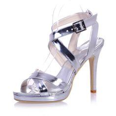 Tidecloth Women's Slingback High Heel Sandals Silver 41 EU ** For more information, visit image link.