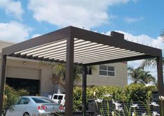 How about this?  A little different the the average pergola idea.