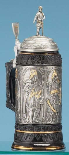 CRUSADERS STEIN - Traditional Stoneware & Pewter Beer Steins -