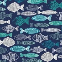 First Light Poplin - Shoal in Navy by Elouise Renouf for Cloud9 Fabrics  *UK Seller* Sold by the FAT QUARTER