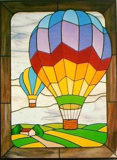 Harmony Glass - Carolyn Kyle Pattern Hot Air Balloons Source by VintageQuilts. Glass Painting Patterns, Stained Glass Patterns Free, Glass Painting Designs, Stained Glass Quilt, Stained Glass Crafts, Stained Glass Designs, Paint Designs, Air Balloon, Balloons