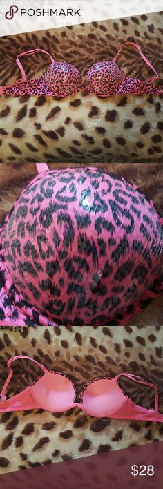 Pink Leopard Bra Super cute, looks brand new, clear sequins all over the cups PINK Victoria's Secret Intimates & Sleepwear Bras