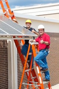 Photo about Two workers installing solar panels and giving the thumbs up sign. Image of adult, occupation, installation - 9369111 Sample Business Plan, Business Planning, Solar Panel Installation, Solar Panels, Renewable Energy, Solar Energy, Green News, Energy Industry, Solar House