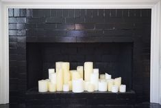 """Use Candle Impressions Flameless Candles with the timer """"on"""" to create a faux-fireplace! Safe, beautiful, and soothing"""