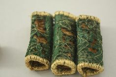 Fiber fabric Bead Green and gold felt by NellsEmbroidery on Etsy, $8.00