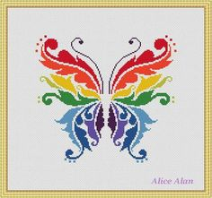 Cross Stitch Pattern Butterfly Rainbow fantasy от HallStitch
