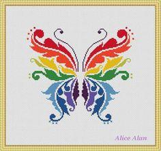 Cross Stitch Pattern Butterfly Rainbow fantasy от HallStitch