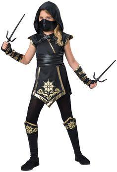 PartyBell.com - Gold #Ninja Girl - Child Costume