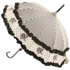 Black Stripe Umbrella with Floral Border and Dotty Edged Frill by Lisbeth Dahl