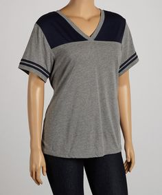 Take+a+look+at+the+Heather+&+Navy+Jersey+Football+V-Neck+Tee+-+Plus+on+#zulily+today!