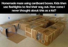 Maze out of cardboard bixes