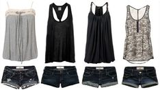 Summer Outfits For Teenage Girls | Fashion » Loose Tanks + Dark Denim Short Shorts - Hit or Miss?