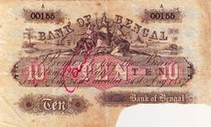 Bank of Bengal, 10 Rupees, Cut sign and cancelled. This banknote was issued in the Mutiny year Extremely rare banknote. Banknote, Bank Of India, Stamp Collecting, World History, Bengal, Hobbies, Stamps, Coins, British