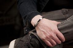 www.877workshop.com — Men's bracelet Canvas Sterling Silver hook forest