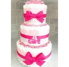 Diaper Cake - It's A Girl - Diaper Cake For Girls - Baby Shower Centerpiece