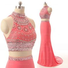 Fashion Mermaid Sexy Two Pieces Handmade Beaded Coral Prom Dress