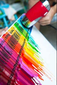 I love how the crayons melted on the canvas
