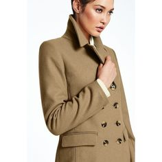 Canvas by Lands' End Women's Double Breasted Wool Coat ($225) ❤ liked on Polyvore featuring outerwear, coats, tan, wool pea coat, double breasted woolen coat, brown wool coat, double breasted peacoat and tan coat