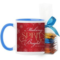 Making Spirits Bright Mug, Light Blue, with Ghirardelli Minis, 11 oz, Red