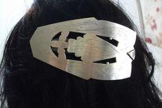 Gold/Silber glänzende Haarspange Silber HS113 von Atelier Regina auf DaWanda.com