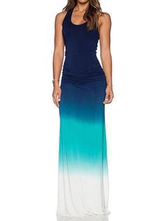 Sleeveless Gradient Color Maxi Dress