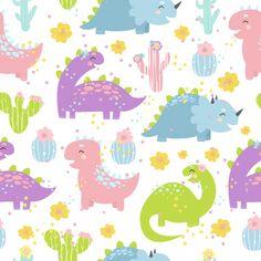 Cartel de flores de cactus y merchandising Vector Premium Dinosaur Pattern, Cute Dinosaur, Colorful Baby Showers, Impression Textile, Baby Shower Invitation Cards, Baby Unicorn, Flower Doodles, Cartoon Icons, Baby Scrapbook