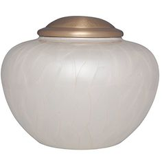 Funeral Urn by Liliane - Cremation Urn for Human Ashes - Hand Made in Brass with Beautiful Silver color finish - Display Burial Urn at Home or in Niche at Columbarium. - Nido White Model
