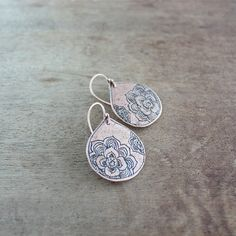 Copper earrings metalwork jewelry floral peony by wirefoxjewellery