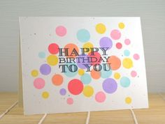 Happy Bubbles Birthday Card by @Chunyuan Wu - love the polka dots, reminds me of my Easter dress when I was a kid. Cute card