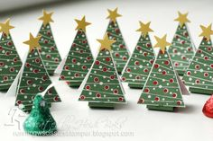 Little Christmas Tree Tents by RunningwScissorsStamper  ... cute ... Chocolate Kisses in Christmas foil ...  could be used for place cards with names on top ...