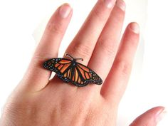 Monarch Butterfly Ring, Shrink Plastic Jewelry, Insect, Entomology, Orange and Black, Wearable Art