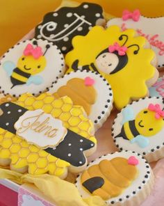 Adorable cookies at a Girly Bee Party Birthday Party!  See more party planning ideas at CatchMyParty.com!