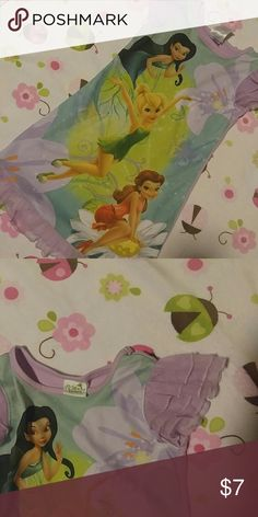 Disney Fairies nightgown Violet colored satiny nightgown with Tink, Silvermist and Rosetta. Layered tulle sleeves and hem. Size 3T and in great condition. Disney Fairies Pajamas Nightgowns