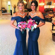 Wholesale Modest Romantic Sweetheart Bateau Off the Shoulder Ruched Navy Blue Mermaid Long Bridesmaid Prom Dresses 2014 Vestido, Free shipping, $83.77/Piece | DHgate Mobile