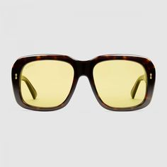Dark tortoiseshell acetate frame Dark tortoiseshell acetate temples with  engraved Gucci logo UVA UVB protection GG Yellow lens 3972c1ade4c