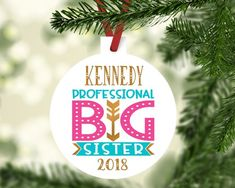 Our fun Big Sister personalized ornament is available as Promoted, In Training and Professional. It is personalized with her first name and year and will be an ornament she will treasure and even put on her own tree when she grows up. Sister Ornament, Cricut Christmas Ideas, Promoted To Big Sister, Used Vinyl, Personalized Christmas Ornaments, Transfer Paper, Red Ribbon, Pet Gifts, Little Sisters