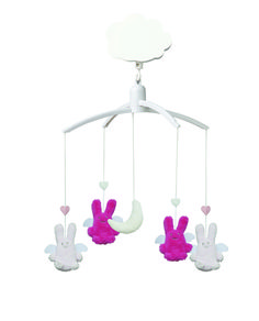 Mobile Musical Ange Lapin Fuchsia & Rose