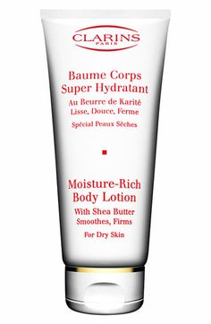Clarins Moisture Rich Body Lotion If you don't mind the price, this will be one of the best body lotions you'll ever use. Seriously. Its not sticky, it wears all night and keeps you moisturized.