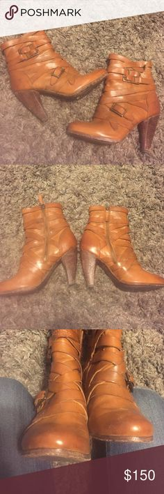 Distressed strapped buckled boots free Super cute cognac frye boots, distressed look like all their boots. Strappy and super hot! Slight wear on back of heel (not leather) but can tell because of the look. Frye Shoes Heeled Boots