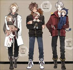 Prussia and Germany, Spain and Romano, and France and Canada