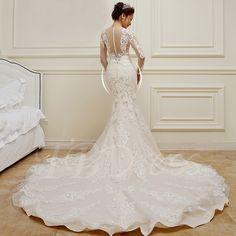 Lace Appliques Long Sleeves Long Train Mermaid Wedding Dress