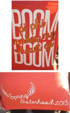 Pi Phi makes me heart go Boom Boom! WA Alpha spring sisterhood shirts #piphi #pibetaphi