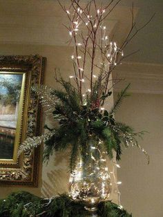 Mantel decoration branches with minimal greensMantle decoration=love the lookCreate a holiday ambiance and express your joy for this season throughout your house with these indoor Christmas decorations ideas, because every room can use [. Indoor Christmas Decorations, Christmas Mantels, Christmas Centerpieces, Rustic Christmas, Simple Christmas, Christmas Lights, Christmas Wreaths, Christmas Crafts, Christmas Tree