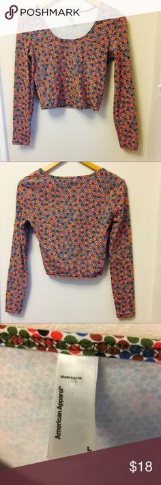 American Apparel long sleeve floral/dot crop top American Apparel long sleeve floral/dot crop top. In excellent condition. Size L. American Apparel Tops
