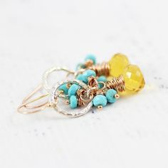 Turquoise and Citrine Gemstone Mixed Metal Dangle Earrings
