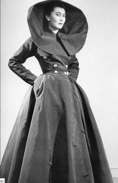 1949 Alla wears Dior's 'Carnavalet', a full black taffeta evening dress with an enormous collar, photo by Willy Maywald
