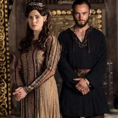 Judith and Athelstan, parents to Alfred (future Alfred the Great) in Vikings on History Channel.