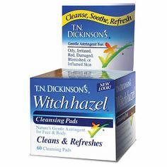 T.N. DICKINSON'S WITCH HAZEL PADS. Take one pad to your face morning and night to clean the day's nastiness off and maintain blemish and red-free skin.