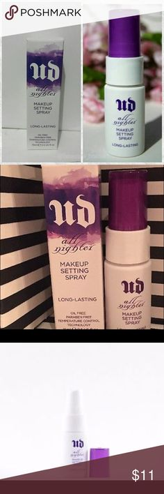 The BEST!! URBAN DECAY MAKEUP SETTING SPRAY !! URBAN DECAY ALL NIGHTER MAKEUP SETTING SPRAY! I have bought so many bottles of this stuff because it is sooooooo amazing!!! I was recommended this from a friend of mine who is a makeup artist, and now it is my secret weapon!! My Makeup SERIOUSLY lasts 16 hours!! Make up also looks WAYYY BETTER afterward ! Seamless, poreless and smooth all night! MINI SIZE .5 oz FIRM PRICE! Urban Decay Makeup Face Primer